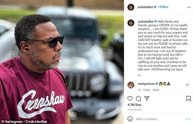 Ex-NBA All-Star Cedric Ceballos is COVID-free, he announced Monday, but the 52-year-old still remains in ICU after more than two weeks because he can't yet breathe or walk on his own