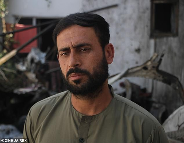 Emal Hamedi, a survivor of the U.S. drone strike, is seen at the site of the attack in Kabul