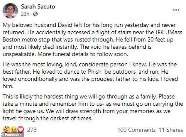 Sacuto posted a tribute to her husband following his death, saying he went for a run and 'never returned'