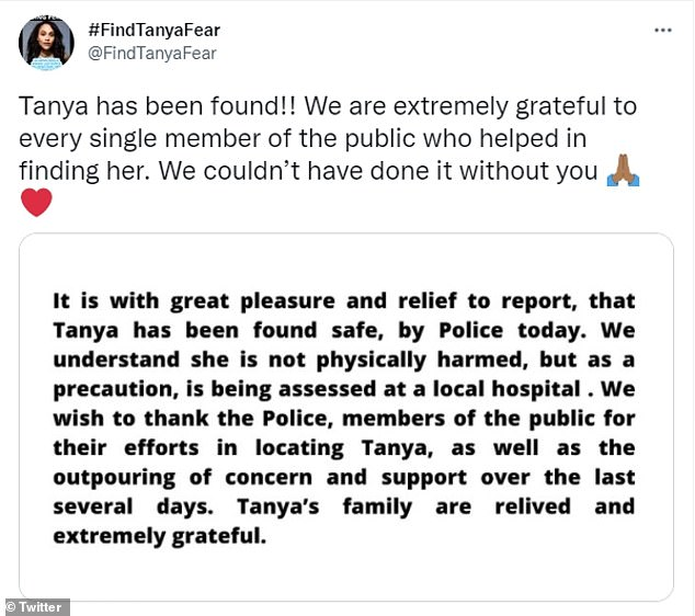 A Twitter account run by Tanya's family and friends also confirmed this evening that Tanya had been found by police