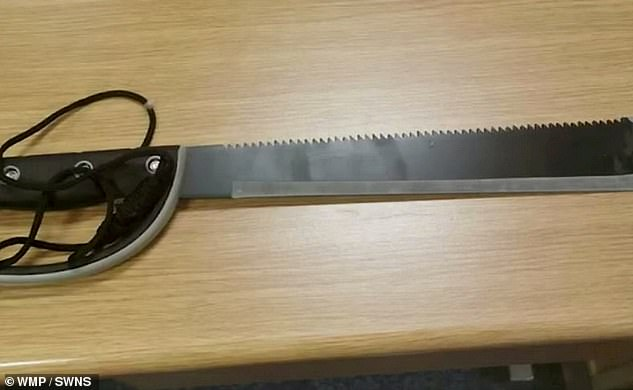 Police officers found two crowbars and a huge machete on the driver's seat following the incident