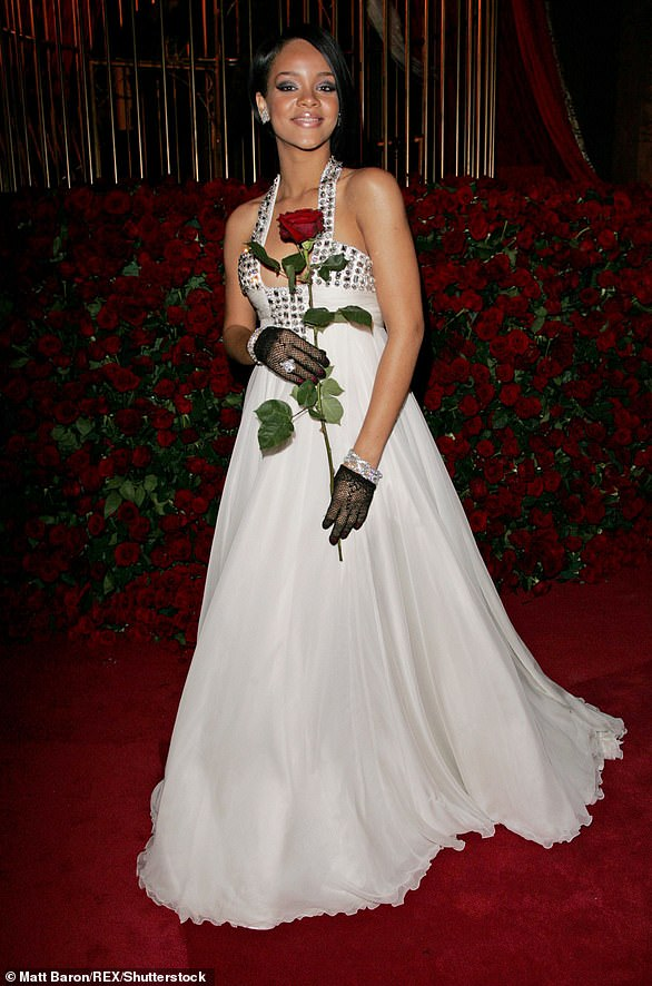 2007:For her very first Met Gala, Rihanna graced the star-studded event in a floor-length gown designed by Georges Chakra