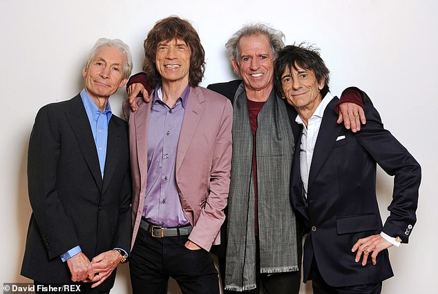 Restrictions:The Rolling Stones were reportedly forced to miss the funeral of their drummer Charlie Watts due to Covid-19 restrictions (L-R, Charlie Watts, Mick Jagger, Keith Richards and Ronnie Wood)