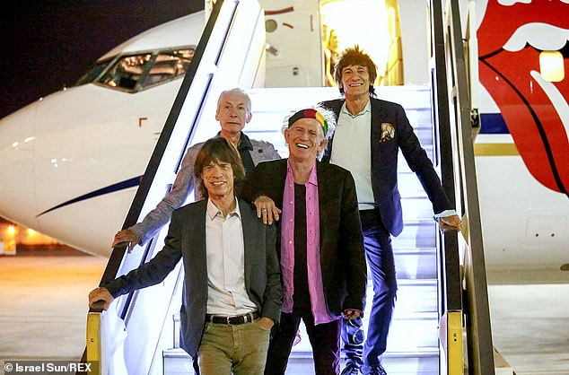 Ceremony:Sir Mick Jagger, 78, Keith Richards, 77, and Ronnie Wood, 74, were unable to attend the small private ceremony in Devon which took place last week (pictured together in 2014)