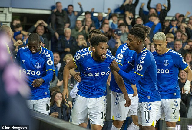 Towsend's (left) team-mate Demarai Gray (right) scored the third and final goal for Everton