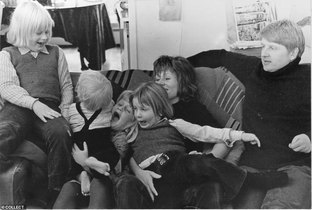 The Johnson family pictured in London in 1972 with (left to right) Boris (aged 8) watching Jo, Rachel and Leo with their mother Charlotte and father Stanley