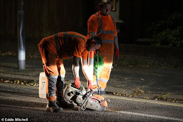 Workers begin removing the cycle lanes on the A270 from Brighton to Shoreham