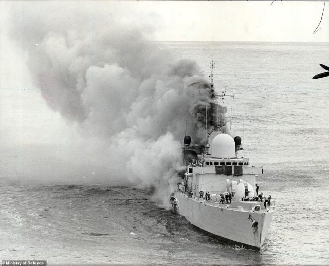 The 50-year-old dome which was built to detect rival U-boats and submarines using sonic waves is the last of its kind in British ownership - with the others sat at the bottom of the sea or in foreign territories. Both HMS Sheffield (above after being hit) and HMS Coventry - which were sunk in the Falklands War - boasted the device