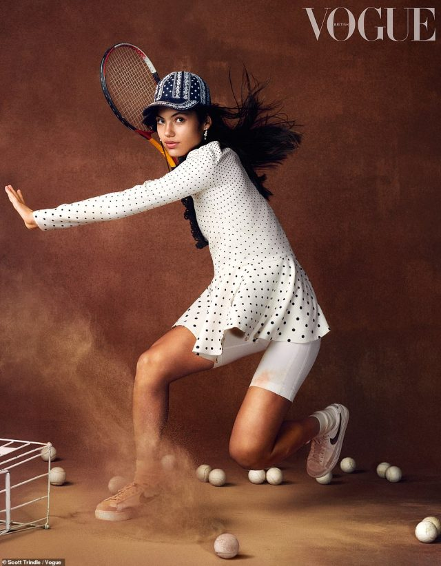 The 18-year-old (pictured during her Vogue photoshoot), from Bromley, south-east London, made history today by ruthlessly winning her US Open semi-final in straight sets, defeating seventeenth seed Maria Sakkari 6-1, 6-4 in just 84 minutes for a place in her first major final