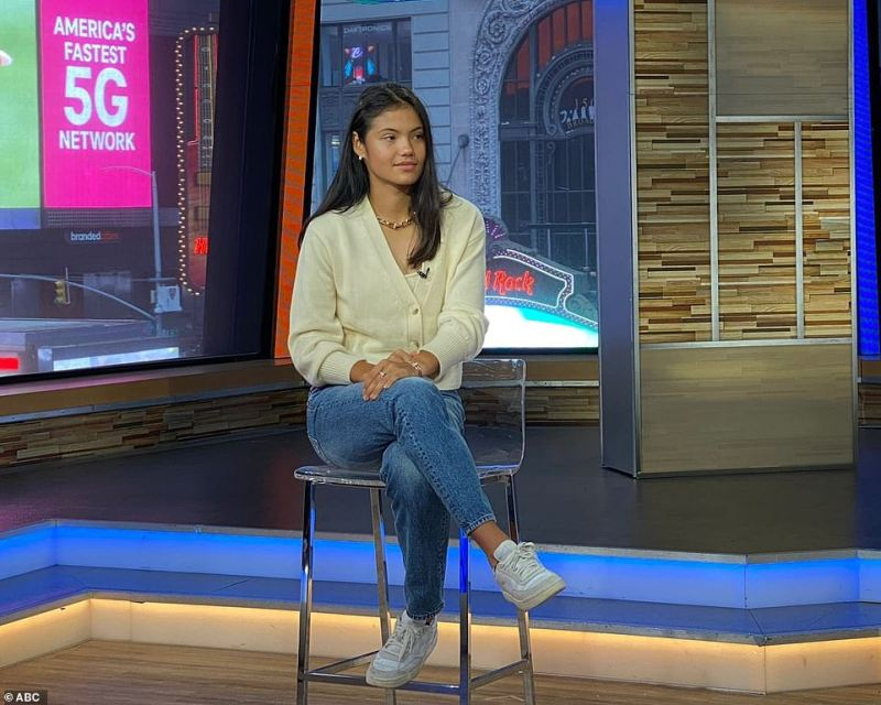 Raducanu told ABC's Good Morning America in New York today that her parents 'played a huge part of my upbringing'