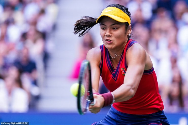 Emma Raducanu plays during the final of the US Open which she won on Saturday night