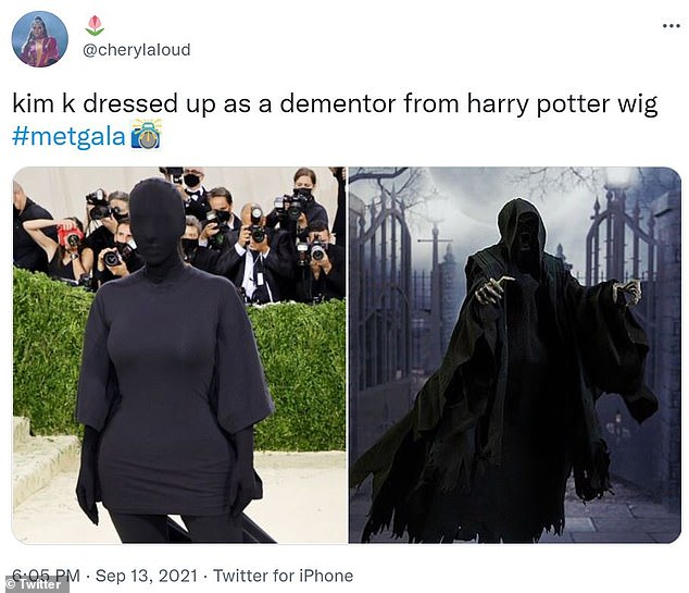 Good fun: The 40-year-old reality star was compared to a 'Dementor' from the Harry Potter series as many took to Twitter to post memes poking fun of her outfit at the gala event