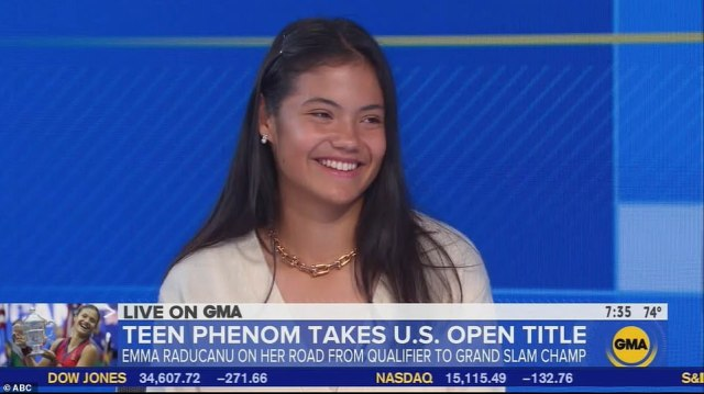 British tennis star Emma Raducanu is interviewed on Good Morning Britain on ABC today following her US Open victory