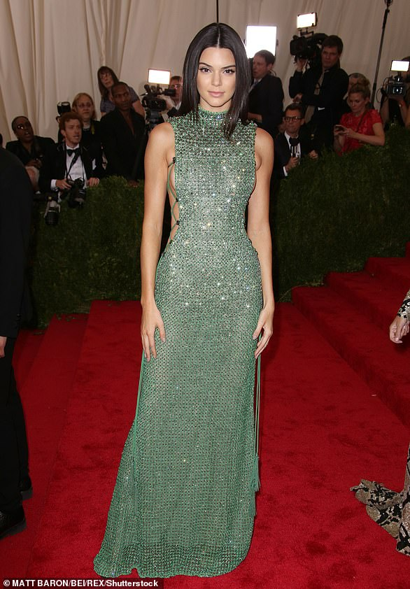 Green is good:It was a semi sheer green gown for Kendall in 2015. The dress had a surprise on the sides: her skin was showing under a few thin straps