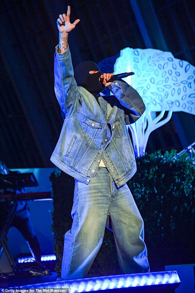 Denim on denim:The 27-year-old hitmaker rocked a denim on denim ensemble consisting of an oversized jean jacket and baggy bottoms