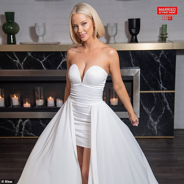 Petite: Jessika had a much smaller frame when she filmed Married At First Sight's Grand Reunion special in early January (pictured)