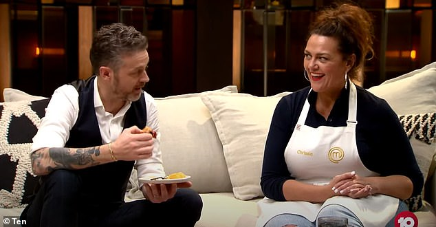 Cooking queen: The diverse and healthy items in her bag comes ahead of her appearance in Channel 10's Celebrity MasterChef Australia.In the preview of the show, she is sat alongside judge Jock Zonfrillo who tastes the dish she created in one of the challenges (pictured)