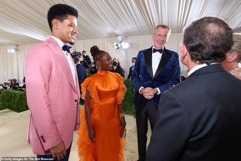 Dante de Blasio, Bill de Blasio, and Chirlane McCray attend the The 2021 Met Gala Celebrating In America: A Lexicon Of Fashion at Metropolitan Museum of Art on September 13, 2021
