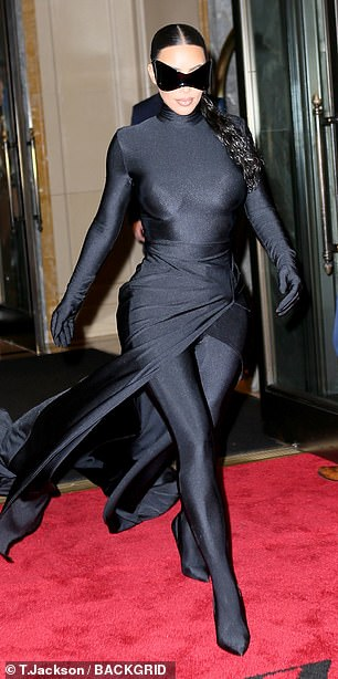 Unmasked: Kim's after party look gave fans a better look at her, being that she walked the Met Gala carpet in a full-face mask