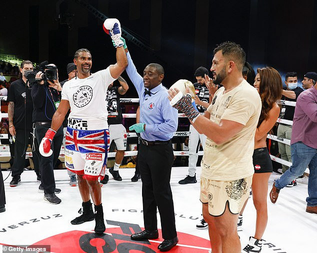 Haye (left) called out 'big fat dosser' Fury after beating Joe Fournier in his return to the ring