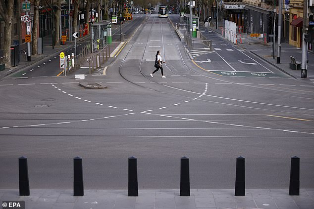 Health Minister Martin Foley said 87 per cent of active cases were aged under 50, with 585 aged under 19 (pictured, a nearly deserted Bourke Street on Sunday)