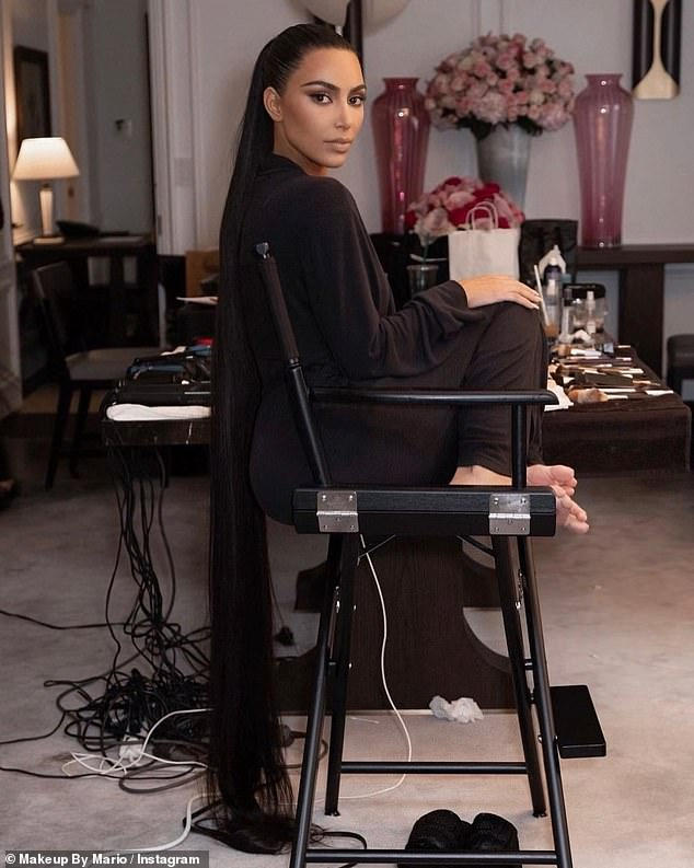 Glam: Being completely covered up seemingly did not stop the star from spending hours in the make-up chair as make-up artist Mario Dedivanovic took to Instagram to share a few snaps