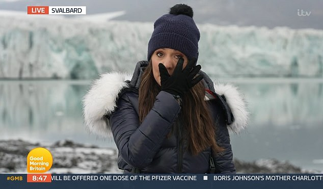 Good Morning Britain weather correspondent Laura Tobin, 39, pictured, breaks down in tears during a live segment on TODAY from Svalbard, Norway