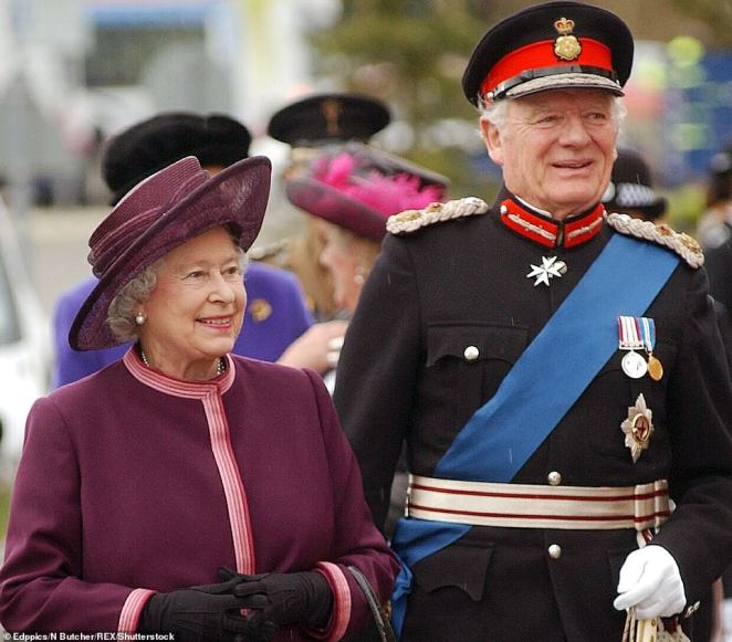 The Queen and one of her closest friends Sir Timothy Colman visiting Norfolk and Norwich Hospital in February 2004