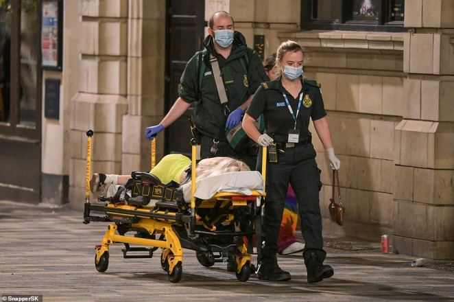 At least two people were stretchered away by paramedics and into awaiting ambulances after taking their celebrations too far