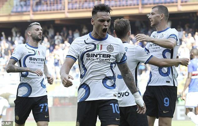 Lautaro Martinez celebrates scoring for Inter Milan in their match at Sampdoria last weekend