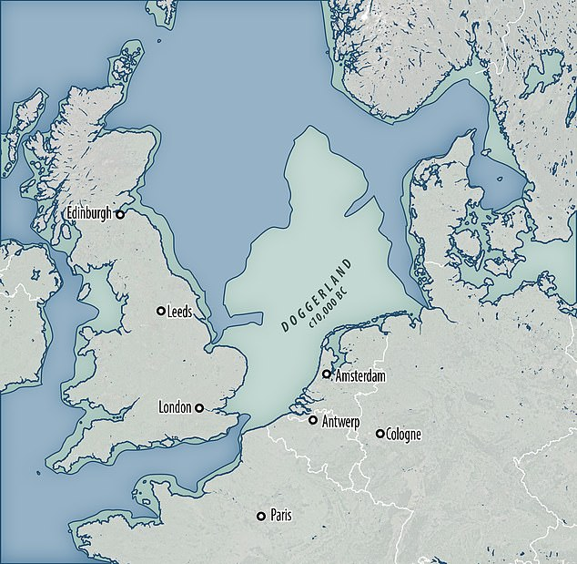 The Doggerland stretched from what is now the east coast of Britain to the present-day Netherlands, but disappeared due to rising sea levels after the Last Glacial Maximum and the Storga Slide.