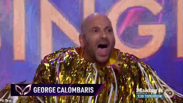 There he is! The mystery celebrity was unmasked as former Masterchef judge George Calombaris