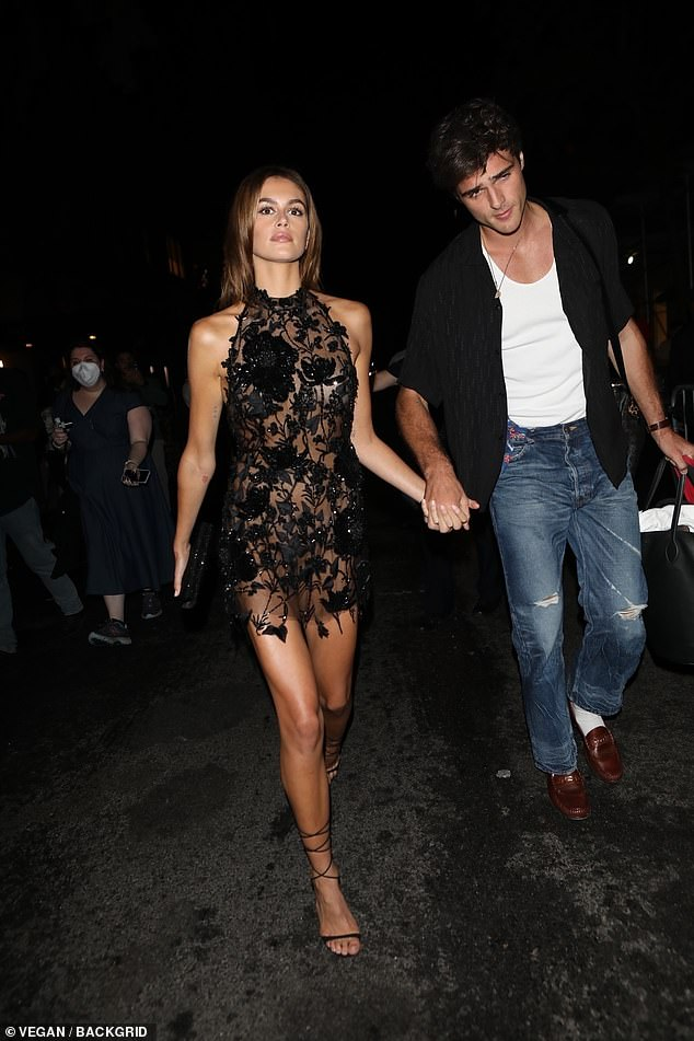 Glam:The model, 20, and her Australian actor beau, 24, walked hand in hand as they arrived at Justin Bieber's bash held at Webber Hall in the city