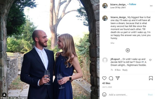 Laundrie and Petito in a post on his Instagram where he writes 'till death do us part or until I wake up' and 'Love you hunny'
