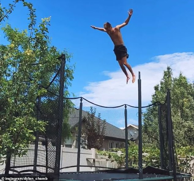 The agile athlete (pictured) frequently shares nail-biting clips on social media of him trying out daredevil stunts from flipping over a moving car to backflipping off rockfaces