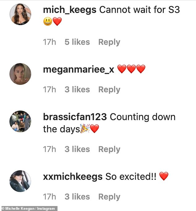Excited: The new snaps got fans excited and excited to see Michelle back on their screens