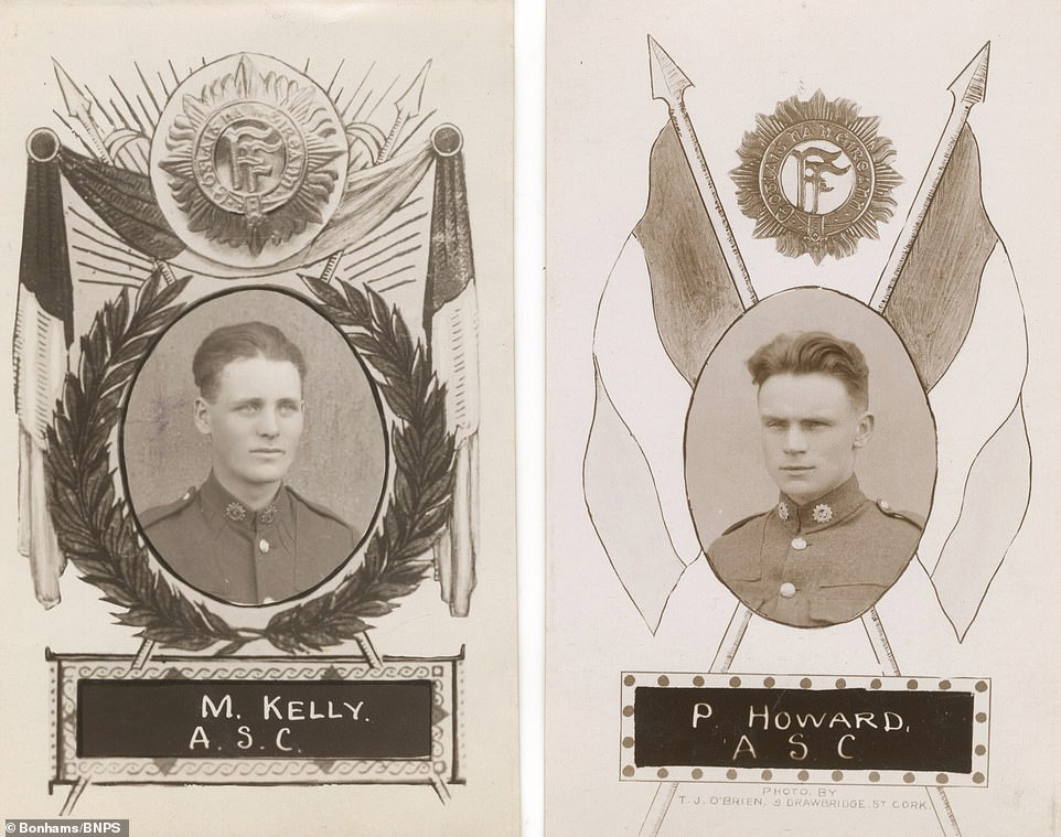 Portraits of soldiers named M Kelly and P Howard, along with the acronym ASC, which stands for Army Service Corps