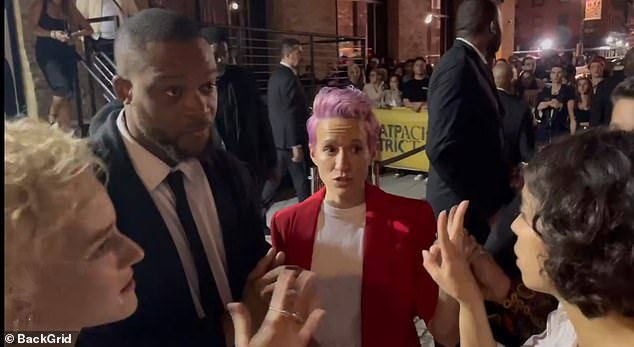 The security guard, though, would not let her friend into the party until Megan Rapinoe vouched for her