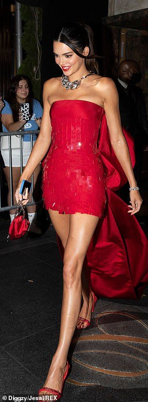 Dazzling:She teamed this with a chunky silver necklace and added heels and bag that matched the red/silver theme