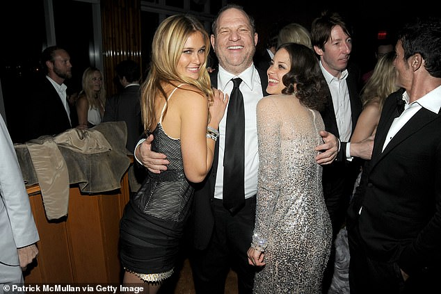 The disgraced Hollywood producer was convicted by a New York jury of sexually assaulting former production assistant Mimi Haleyi in his apartment in 2006 and raping aspiring actress Jessica Mann in a hotel room in 2013. Pictured in 2010 with model Bar Rafaeili and Marion Cotillard