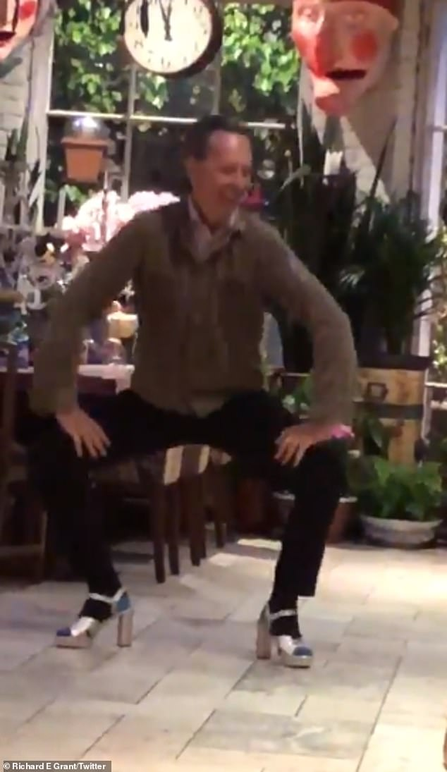 Dancing:Richard E Grant, 64, has shared footage of himself preparing for his role in Everybody's Talking About Jamie, the premiere of which he attended on Monday night
