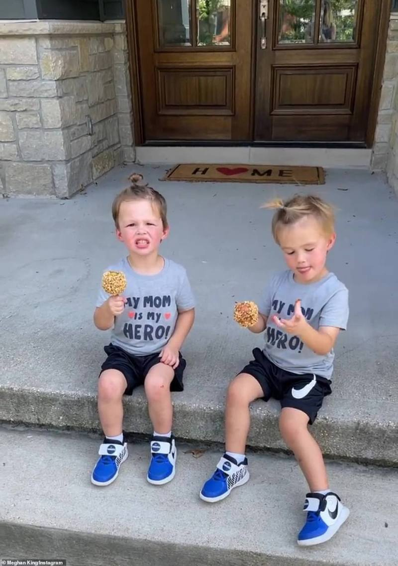 Candy apple fans: Edmonds and King - who rely on nanny Ashley Estrada - also co-parent their three-year-old twin sons Hart and Hayes (pictured September 7)