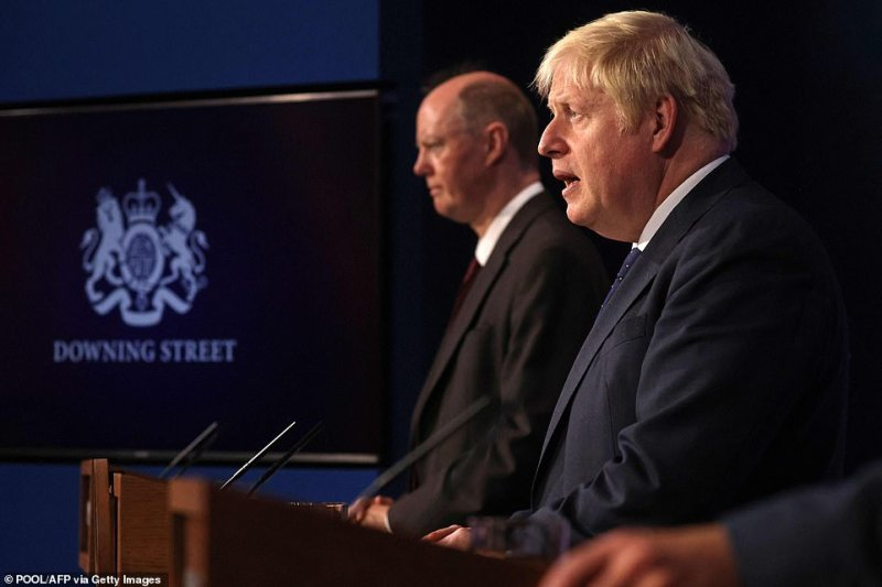 Chief Medical Officer for England Chris Whitty (left) and Prime Minister Boris Johnson at Downing Street this afternoon