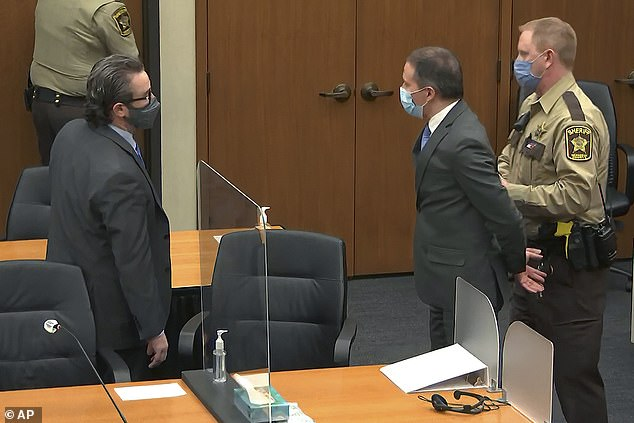 Chauvin is led away in handcuffs after being convicted of all charges in his criminal case in the state of Minnesota in April