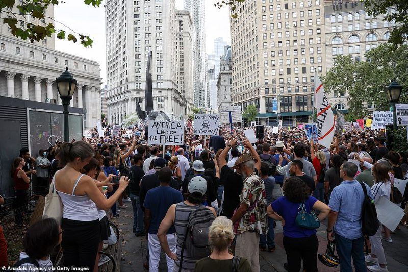 Protesters chanted slogans denouncing Biden during the rally in New York City on Monday