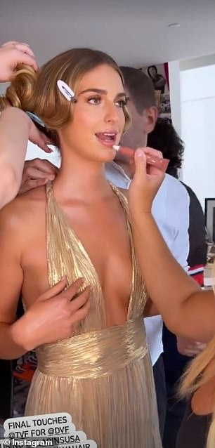 Each is pictured getting her makeup done before the gala started