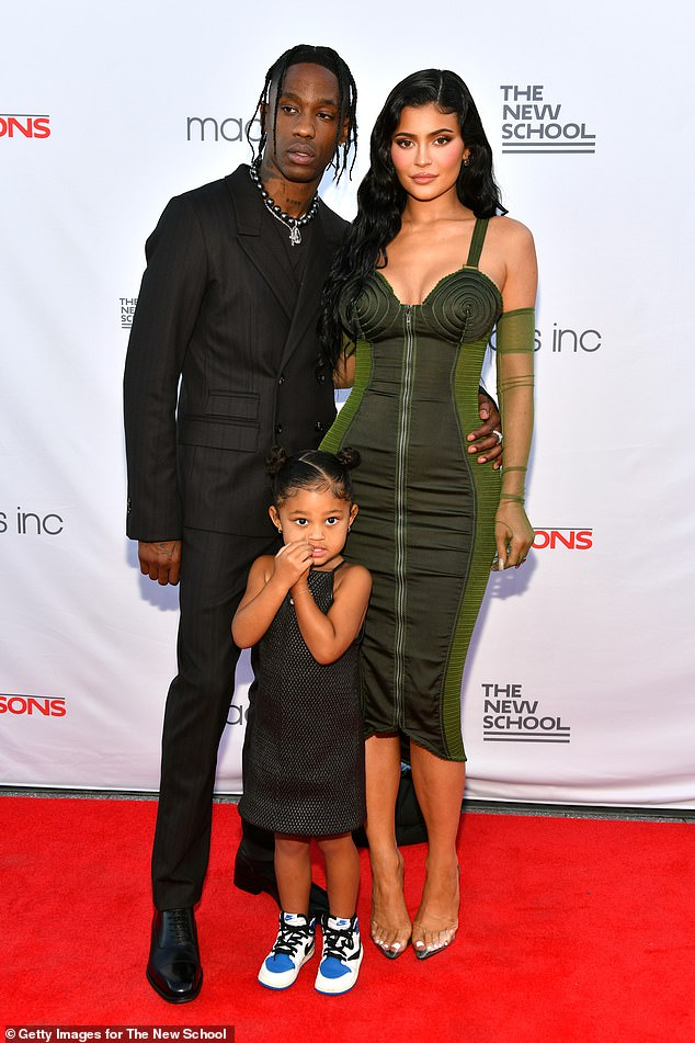 Baby on the way:Jenner is expecting her second child with her boyfriend Travis Scott, 30. The couple are already parents to daughter Stormi Webster, three. Pictured in June 2021