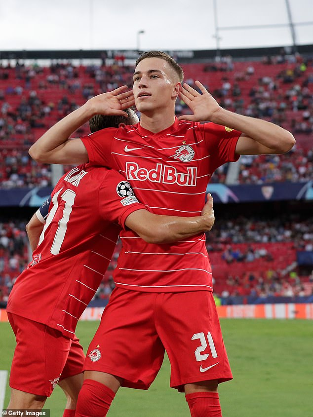 Midfielder LukaSucic celebrates after puttingSalzburg ahead in a dramatic first-half