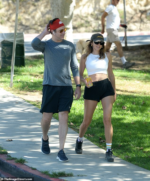Staying close:They were close earlier in the year, sparking romance rumors after they were pictured leaving the same London home - and then spotted arm-in-arm in New York And Sunday, Jason Sudeiki and Keely Hazell reunited in Los Angeles for a sunshine stroll