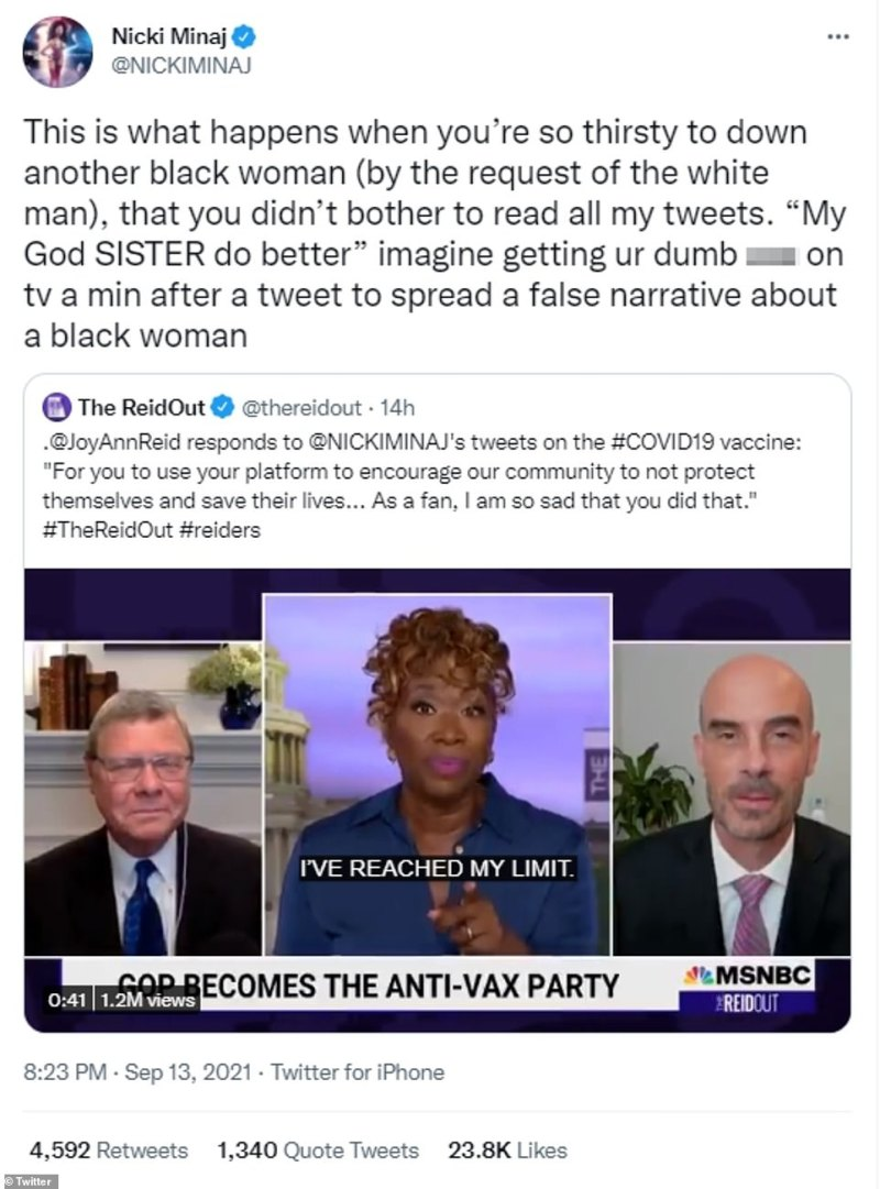 Minaj fired back at Reid accusing her of being 'thirsty to down another black woman' after the MSNBC host blasted her comments